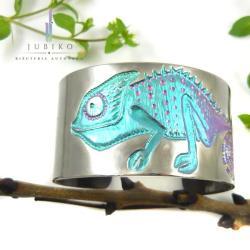 tytan,bransoleta,rękodzieło,kameleon - Bransoletki - Biżuteria