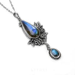 labradoryt,niebieski wisiorek,srebrny,litori - Naszyjniki - Biżuteria