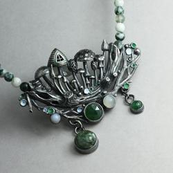 srebrne grzyby,las,grzybowy domek,srebrna gałąź - Naszyjniki - Biżuteria