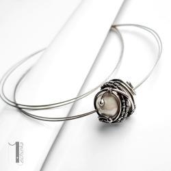 naszyjnik srebrny,perła majorka,wire wrapping - Naszyjniki - Biżuteria