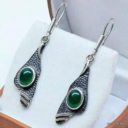 kolczyki z zielonymi onyksami,srebro,biżuteria - Kolczyki - Biżuteria