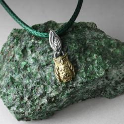 sowa,złota sówka,srebrne liście,leśny wisiorek - Wisiory - Biżuteria
