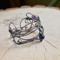 bransoletka,miedz,agat,fiolet,elficka biżuteria - Bransoletki - Biżuteria