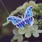 Wisiory srebrny wisior motyl,niebieski motyl naszyjnik