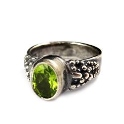 perydot,srebrny,srebro,retro,zieleń,oliwin,faset, - Pierścionki - Biżuteria