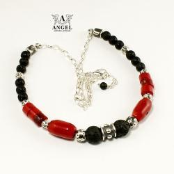 naszynik z koralowca,srebrna biżuteria damska - Naszyjniki - Biżuteria