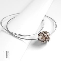 naszyjnik srebrny,perła,mmajorka,wire wrapping - Naszyjniki - Biżuteria