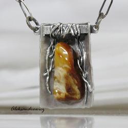 Srebro pr. 925 kute,oksydowane,satynowe bursztyn - Wisiory - Biżuteria