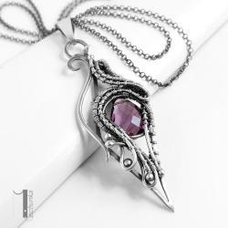 naszyjnik srebrny,wire wrapping,ametyst - Naszyjniki - Biżuteria