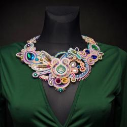 etniczny naszyjnik,naszyjnik soutache,kolia - Naszyjniki - Biżuteria