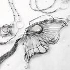 Naszyjniki srebrny,naszyjnik,wire-wrapping,motyl,kwarc,ciba