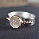 Pierścionki srebrno złoty pierścionek z kwarcem rutylowym