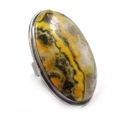 jaspis,srebrny,szary,złocisty,jesienny,bumblebee - Pierścionki - Biżuteria