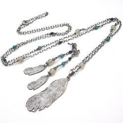 piórka,długie,kamienie,minerały - Komplety - Biżuteria