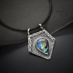 srebrny,naszyjnik,geometryczny,z labradorytem - Naszyjniki - Biżuteria