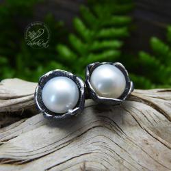 sztyfty,perła,romantyczne,srebrne,perłowe,biała - Kolczyki - Biżuteria