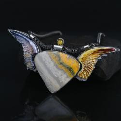 duży naszyjnik,naszyjnik z jaspisem trzmielim - Naszyjniki - Biżuteria