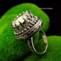nehesi,pierścień,pierścionek,srebrny,kwarcem - Pierścionki - Biżuteria
