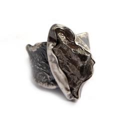 meteoryt,srebrny,blask,czerń,unisex,Walentynki, - Pierścionki - Biżuteria