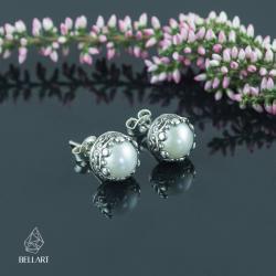 srebrne sztyfty,perłowe,eleganckie, - Kolczyki - Biżuteria