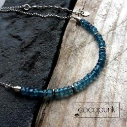 topaz,niebieski,granatowy,krótki,srebrny - Naszyjniki - Biżuteria