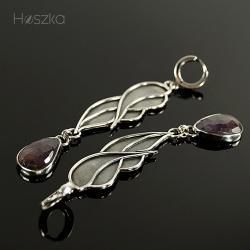 bordo,fiolet,kolczyki,skrzydła,szafir - Kolczyki - Biżuteria