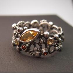 srebrny koronkowy pierścionek - Pierścionki - Biżuteria