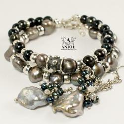 komplet biżuterii z pereł,kolczyki,bransoleta - Bransoletki - Biżuteria