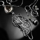 Naszyjniki srebrny,naszyjnik,wire-wrapping,kwarc,rutylowy