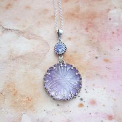 srebrny,wisior,z ametystem,długi - Naszyjniki - Biżuteria