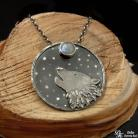 Naszyjniki naszyjnik,wilk,kamień księżycowy,srebro,księzyc