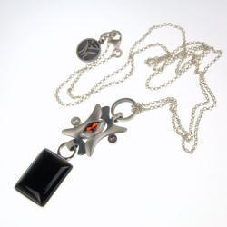 srebrny wisior z onyksem perłami i cyrkonią - Wisiory - Biżuteria
