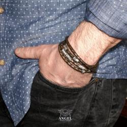 bransoleta skórzana,bizuteria męska - Dla mężczyzn - Biżuteria