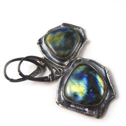 srebrne,labradoryty,srebro,długie,niebieski - Kolczyki - Biżuteria
