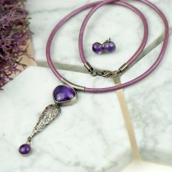 komplet srebrny,z ametystami,oksydowane,elegancji - Komplety - Biżuteria
