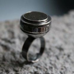 pierścionek,moneta rzymska,srebro,brąz,kopuła - Pierścionki - Biżuteria