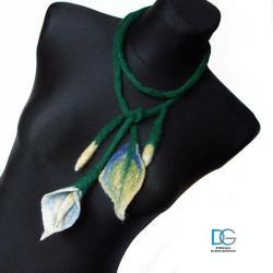 kalia,owijka,naszyjnik,filcowy,ciepły,kwiaty, - Naszyjniki - Biżuteria