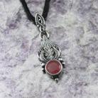 Wisiory rubinowy,liść dębu,art nouveau,srebro i rubin