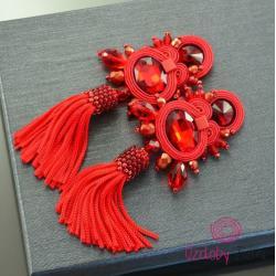 chwost,frędzle,czerwone,fantazyjne,sutasz - Kolczyki - Biżuteria