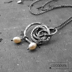 długi,z zawieszkami,perły,komplet - Naszyjniki - Biżuteria