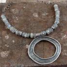 Naszyjniki naszyjnik ze srebra i labradorytów