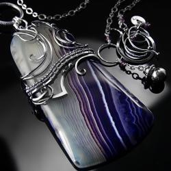 srebrny,naszyjnik,wire-wrapping,agat,fioletowy - Naszyjniki - Biżuteria