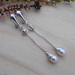 srebro,chainmaille,krople,klipsy,JewelsbyKT - Klipsy - Biżuteria