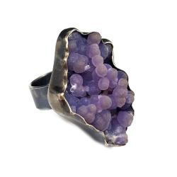 CHALCEDON,minerał,fiolet,srebrny,blask,srebro, - Pierścionki - Biżuteria