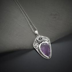 srebrny naszyjnik,z amtystem i różą - Naszyjniki - Biżuteria