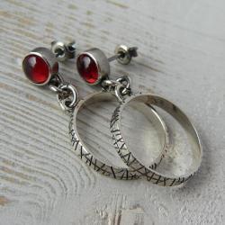 surowe srebro,granaty,kolczyki koła - Kolczyki - Biżuteria