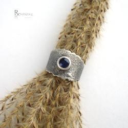szafir,srebrna obrączka,granat - Pierścionki - Biżuteria