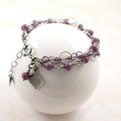 bransoletka,rubin,trzyrzędowa,elegancka - Bransoletki - Biżuteria