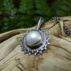 srebrny,romantyczny,delikatny,perła,kobiecy - Naszyjniki - Biżuteria