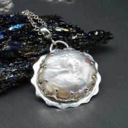 perła,wisiorek,naszyjnik,delikatny,drobny - Naszyjniki - Biżuteria